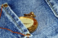 Free Gold Pocket Watch And Jean Royalty Free Stock Photography - 1549787