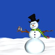Free Snowman And Birds Royalty Free Stock Photos - 1549978