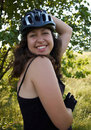 Free Smiling Girl In Bicycle Helmet Royalty Free Stock Photos - 15401468