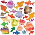 Free Set Of Colour Aquarian Fishes Stock Photo - 15402290