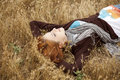 Free Young Beautiful Girl Lying At Yellow Autumn Field. Royalty Free Stock Photography - 15402977