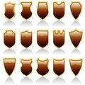 Free Choco Shiny Shields Royalty Free Stock Photos - 15404708