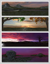 Free Four Different Fantasy Landscapes For Banner, Royalty Free Stock Images - 15408829