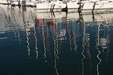 Yachts In Marina And Reflections Royalty Free Stock Photo