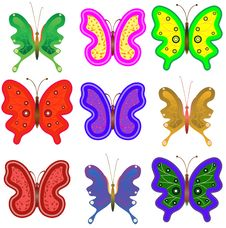 Nine Multi-coloured Butterflies Royalty Free Stock Images