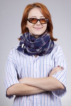 Free Young Smiling Fashion Girl In Glasses Royalty Free Stock Image - 15402146