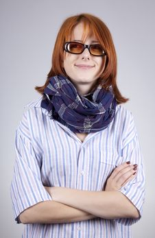 Free Young Smiling Fashion Girl In Glasses Stock Photography - 15402152