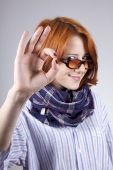 Free Young Smiling Fashion Girl In Glasses Royalty Free Stock Images - 15402159
