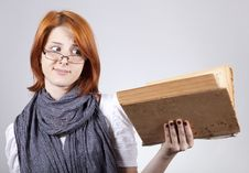 Free Doubting Girl In Glasses With Old Book Stock Image - 15402221