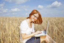 Free Businesswomen In White With Notebook At Wheat Fiel Stock Image - 15402341