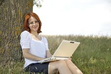 Free Businesswomen In White With Glasses And Laptop Stock Images - 15402384