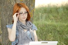 Free Young Girl In Glasses And Notebook Stock Photography - 15402492