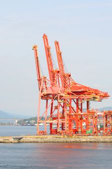 Waterfront Industrial Cranes Royalty Free Stock Photos