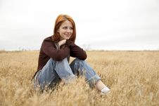 Free Beautiful Red-haired Girl At Yellow Autumn Grass. Stock Photo - 15402750