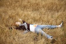 Free Young Beautiful Girl Lying At Yellow Autumn Field. Stock Photography - 15402852