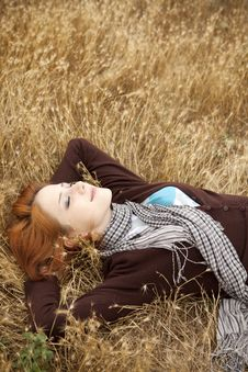 Free Young Beautiful Girl Lying At Yellow Autumn Field. Royalty Free Stock Image - 15402946