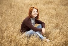 Free Beautiful Red-haired Girl At Yellow Autumn Grass. Stock Photos - 15403013