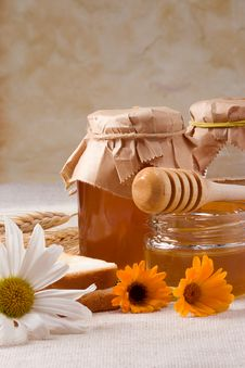 Free Flowers And Honey On Bagging Stock Photo - 15403140