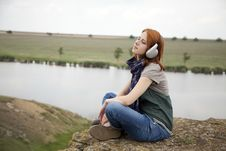 Free Young Girl With Headphones At Rock Royalty Free Stock Photo - 15403405