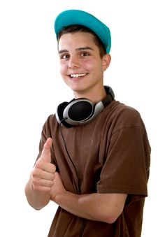 Free Young Fresh Teenager With Thumbs Up Stock Image - 15403981