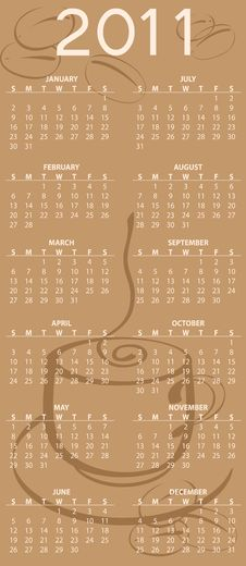 Free Calendar For 2011 Stock Images - 15404204