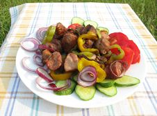 Free Cooked Meat With Vegetables Barbecue Stock Images - 15404214