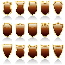 Free Choco Shiny Shields Royalty Free Stock Photos - 15404708