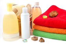 Free Body Care Items And Towels Stock Images - 15405354