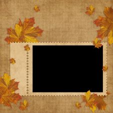 Free Autumn Card For The Holiday  With Leave Royalty Free Stock Photography - 15405517