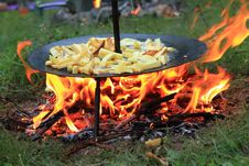Free Fried Potatoes On Barbecue Stock Photography - 15406322