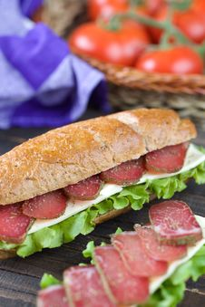 Free Sandwich With Dry Meat Stock Images - 15406374