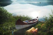Free Canoe Near The Lake Royalty Free Stock Photos - 15406748