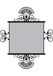 Floral Frame Or Label With Copyspace Royalty Free Stock Image