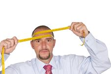 Office Worker With Inch Tape Stock Photo