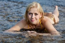 Young Woman On A River Royalty Free Stock Photo