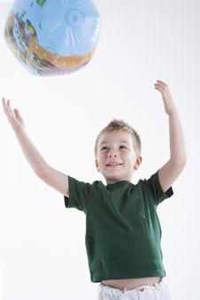Free Little Boy Catching The Globe Stock Image - 15409501
