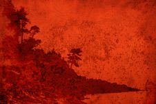 Free Texture With Red Stained Landscape Of Coastal Tree Royalty Free Stock Photography - 15409937