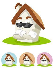 House Cartoon Mascot - The Bodyguard Stock Images