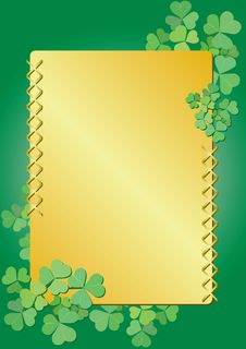 Vector Golden And Green Floral Frame Stock Images