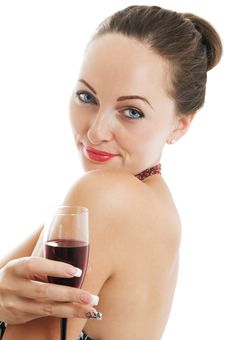 Portrait Of A Woman Holding A Glass Of Red Wine Royalty Free Stock Photo