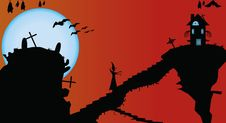 Free Halloween Vector Creepy Card Stock Images - 15411794