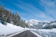 Snow On The Dolomites Mountains, Italy Royalty Free Stock Photo
