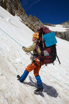 Free Girl Moving Down With Belay Royalty Free Stock Photo - 15412425