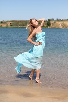 Beautiful Blond Girl In The Sunny Day On The Lake Stock Photos