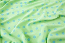 Free Green With Blue Polka Dots Wrinkled Fabric Stock Photo - 15414840