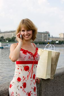 Free Woman Is Talking Mobile Phone Outdoors. Royalty Free Stock Photo - 15416745