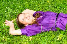 Pretty Girl On Meadow Stock Photo