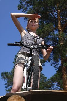 Free Woman On A Bicycle Stock Image - 15417801