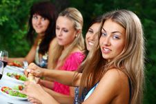 Free Group Of Beautiful Girls Drinking Wine Royalty Free Stock Images - 15418099