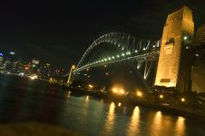 Harbor Bridge Beautifully Lit At Night Stock Photo